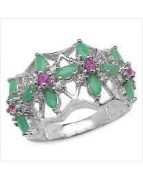 Zilveren ring met Smaragd, Robijn en Topaas