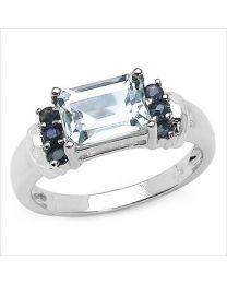 Zilveren ring met Aquamarijn en Saffier