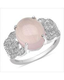 Zilveren ring met roze Kwarts en Zirkonia