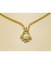 Gouden collier met diamanten - 46.0 cm