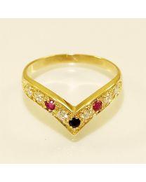 Gouden ring met Saffier en Robijn