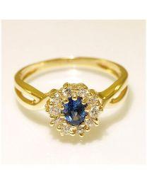 Gouden ring met Saffier