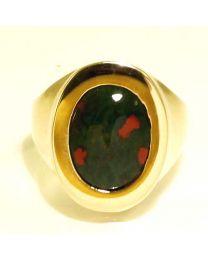Gouden ring met Heliotroop / Bloedjaspis