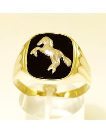 Gouden herenring zegelring Paard