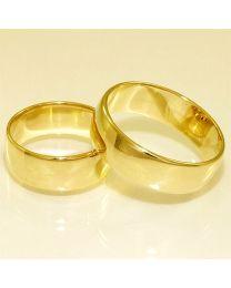 Gouden trouwringen - maat 17.75 en 21.75 mm