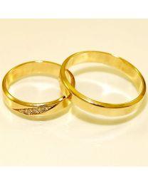 Gouden trouwringen met diamanten - maat 16.5 en 20 mm
