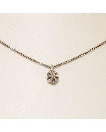 Witgouden collier met diamant - 38.0 cm