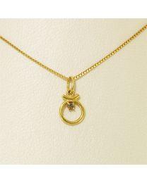 Gouden collier met diamant - 40.0 cm