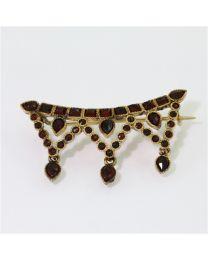 Antieke gouden broche met Granaat
