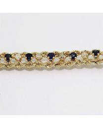 Gouden armband diamant en Saffier - 18.50 cm