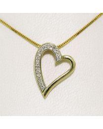 Gouden hanger met diamant - verguld zilveren collier