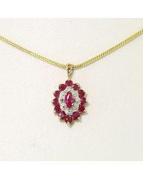 Gouden hanger met Diamant en Pink Saffier - Vergulde zilveren collier