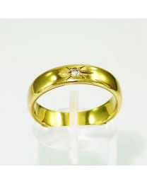 Gouden trouwring met diamant - Maat 19.25 mm