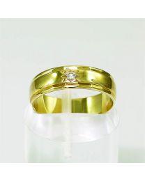 Gouden trouwring met diamant - Maat 16 mm