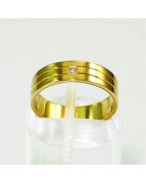 Gouden trouwring met diamant - Maat 15.75 mm