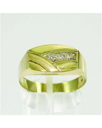 Gouden herenring zegelring met Diamant