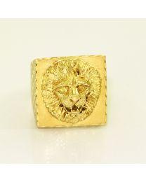 Gouden herenring zegelring Leeuw