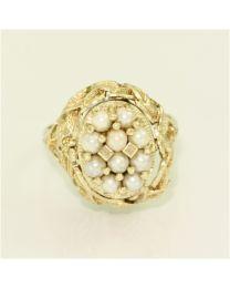 Antiek gouden ring met Zoetwater Parel en Schelp Camee. Aan 2 kanten te dragen.