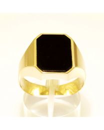 Gouden herenring zegelring met Onyx