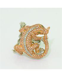 Zilveren vergulde ring met Zirkonia