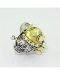 Zilveren vergulde ring met Zirkonia´s