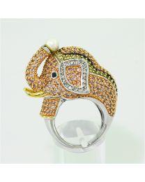 Zilveren vergulde ring met Zirkonia en Parel