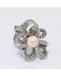 Zilveren ring met Parel en Zirkonia's