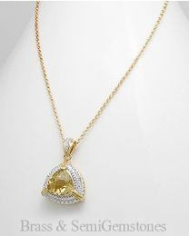Vergulde messing collier met Kwarts en Diamant