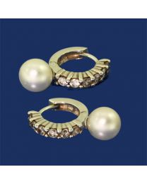 Zilveren oorbellen met Parels en Zirkonia