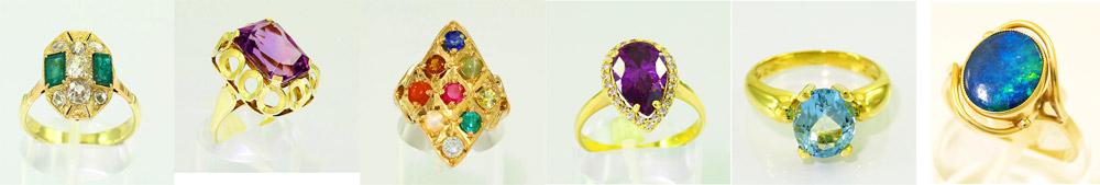 Gouden sieraden met edelstenen